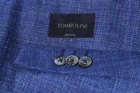 Tombolini Men's Blue Wool Silk Linen Side Vent Sport Coat Jacket Blazer 38R