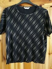 LADIES BONMARCHE BLACK GOLD TUNIC TOP NON IRON SHORT SLEEVES SIZE  20 USED