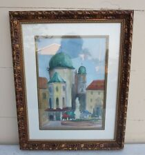 OUTSTANDING PAINTING OF ST. STEPHEN'S CATHEDRAL PASSAU GERMANY BY LISTED ARTIST