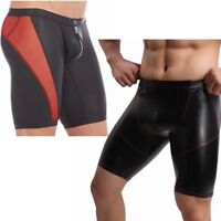 Spandex Men Leather Look Shorts Pants Sports Workout Gym Tights Trunk Underpants