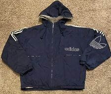 Vtg Adidas Men's Navy Blue Trefoil Hooded Puffer Jacket Size Medium