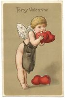 Lovely Antique Valentine Postcard ASB Germany To my Valentine Cupid Embossed