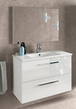 Mueble baño con espejo color blanco brillo cajones soft close y LAVABO CERAMICO