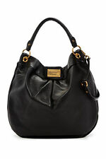 NWT MARC by MARC JACOBS Classic Q Huge Hillier Leather Hobo Bag BLACK $498+ AUTH