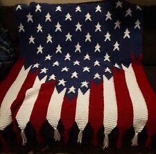 American Flag Handmade Red,White,Blue & 50x45 Crocheted Afghan Throw