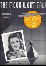 "GINNY SIMMS Sheet Music ""The Moon Won't Talk"" 1940"