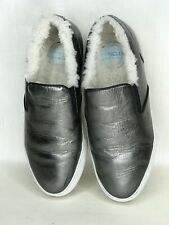 Moncler ROSELINE Metallic Silver Leather Shearling Loafers SlipOn Shoes 38.5 8.5