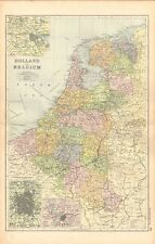 1893 ANTIQUE MAP - HOLLAND AND BELGIUM, AMSTERDAM, BRUSSELS, ANTWERP