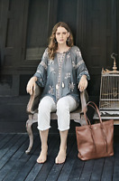 💕 JOHNNY WAS Embroidered SOPHIA PEASANT BLOUSE Tie Neck Gray Tunic XS $245 💕