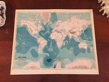 Original 1892 Antique World Map THE EARTH Showing Height of Land & Depth of Seas