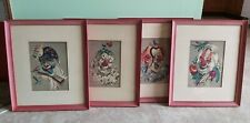 4 Vintage Cydney Grossman Creepy Clowns Pictures Bird Nest Vegetable Blackboard
