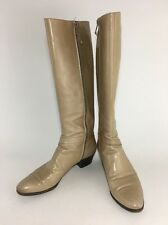 Salvatore Ferragamo Tall Knee High Leather Boots Sz 7 AAAA Beige