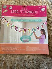 Happy Birthday - Pink add an age Jumbo Letter Banner Kit - 10 feet long