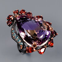 Ametrine Ring Silver 925 Sterling IF 22x16 mm. 33 ct Size 7.75 /R145089