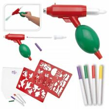 AIRBRUSH SET AIR BLOW BRUSH GUN STENCILS PENS TOY CREATIVE COLOURING CRAFT KIT