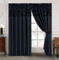 "Damask Half Flock Pair Of Pencil Pleat Window Curtains 66""x72"" & 90""x90"" Black"