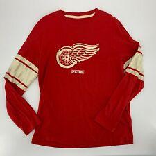 CCM Pro ok'd Mens Detroit Red Wings Long Sleeve T-Shirt Vintage Style Size L M2