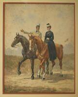 Dessin Ancien Original XIXème - Couple, Chevaux, Cavaliers, Animaux