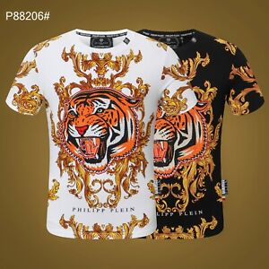 PHILIPP PLEIN Black/White Tiger Beading Men Casual T-shirt #P88206 M-3XL