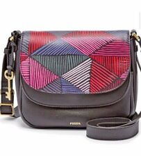 FOSSIL Leather Crossbody Messenger Bag Purse Black Multi Color Design Key Line B