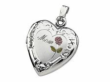 "With Rose Sterling Silver ""Mom"" Tri-Color Heart Locket"