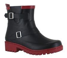 JuJu Womens Short Fashion Biker Wellie Ankle Wellington Boots