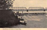 St Cloud Minnesota~Log Drivers at Work Under Bridge~Falls~Logging~1912 Postcard