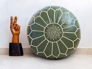 Moroccan Leather Handmade Pouf Ottoman Green Floor Cushion Stool Footstool Yoga
