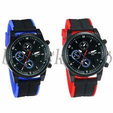 Men's Military Sports 3 Time Zones Decoration Silicone Band Quartz Wrist Watch