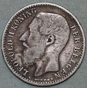 1887 Belgium 1 Franc Silver Foreign Coin Combined S. & H. ~ 91¢ shipping