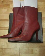 Lote Hermoso Nine West Rojo Oscuro Cuero Botas Talla Uk 7 (EE. UU. 9 M)