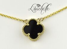 "Natural Onyx Four Leaf Clover Solid 14K Yellow Gold Necklace +16"" Chain"