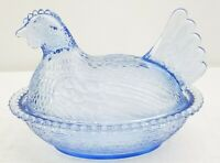 Vintage Indiana Glass Light Blue Nesting Hen Chicken Covered Dish Bowl