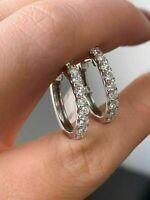 1.00 Ct VVS1 Round Cut Diamond Huggie Hoop Earrings Solid 14k White Gold FN