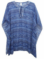 Blue Printed Kaftan Lightweight Summer Oversize Cover Up Plus Size 18-24 BNWT