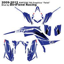 "Raptor 700 Graphics 09-12 DFR ""Twist"" Blue Sides Fenders Raptor700 ATV"