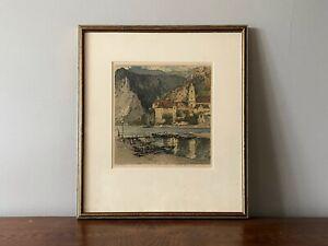 LUIGI KASIMIR 'Duernstein On The Danube, Austria' Original Colour Etching Signed