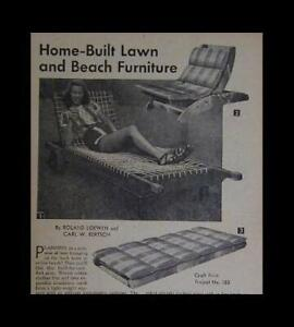 1950's CHAISE LOUNGE CHAIR How-To build PLANS Lawn Pool