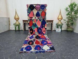 "Moroccan Handmade Vintage Rug 2'5""x8'2"" Berber Geometric Pink Blue Carpet"