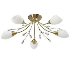 Plafonnier lustre à 5 branches design moderne en métal couleur or avec cristal