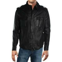 Kenneth Cole New York Mens Leather Winter Coat Bomber Jacket Outerwear BHFO 2780