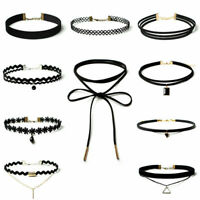 10Pcs/Lots Women's Gothic Punk Velvet Tattoo Lace Choker Collar Pendant Necklace