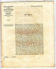 Z823-REGNO DI SARDEGNA-TORINO CERTIFICATO  ORIGINE DELLE DERRATE ALIMENTARI 1825