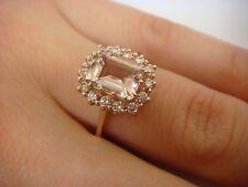 14K ROSE GOLD 1.50 CT T.W. PEACH MORGANITE EMERALD CUT AND DIAMOND HALO RING