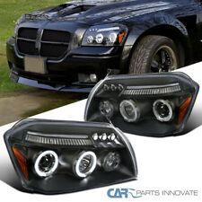 Fit Dodge 05-07 Magnum LED Halo Projector Headlights Driving Head Lamps Black