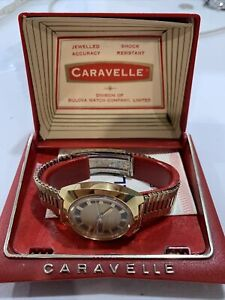 Caravelle By Bulova Set O Matic Day Date Watch In Original Box 34mm Case