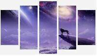 Fantasy Lion - Galaxy Universe Moon Landscape Art 5 Split Panel Canvas Picture
