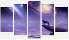LION FANTASY SPACE STARS PURPLE 5 SPLIT PANEL WALL ART CANVAS PICTURE PRINT