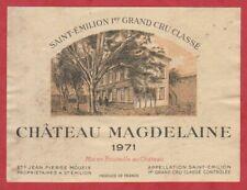 Etiquette - Vin - France - St. Emilion - 1971 - Château Magdelaine.