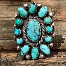 1930s Pawn Navajo Native Long Cluster Vibrant Turquoise Silver Ingot Ring Cute